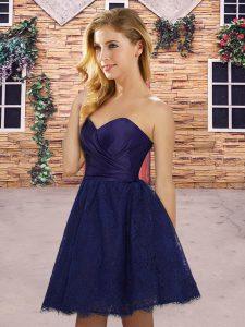 Blue Sweetheart Neckline Ruching Bridesmaid Dress Sleeveless Lace Up