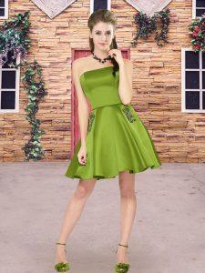 Noble Sleeveless Satin Mini Length Zipper Quinceanera Dama Dress in Green with Beading