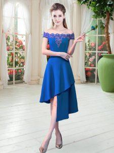 Smart Royal Blue Satin Zipper Prom Evening Gown Sleeveless Asymmetrical Appliques