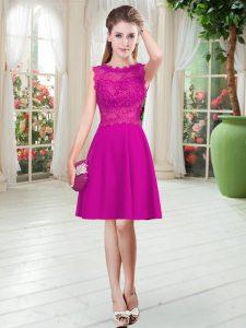 Hot Selling Empire Prom Party Dress Fuchsia Scalloped Satin Sleeveless Knee Length Zipper
