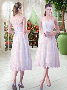 Comfortable White Empire Lace Zipper Sleeveless Tea Length