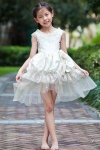 White Scoop Mini-length Taffeta and Organza Dresses for Teens
