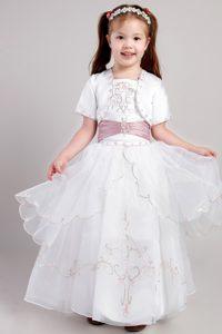 White Square Taffeta and Organza Embroidery Baby Girl Dresses
