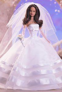 Fashion Handmade Barbie White Organza Wedding Dress For Barbie Doll