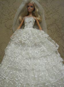 Luxurious Handmade Barbie Lace Wedding Dress For Barbie Doll