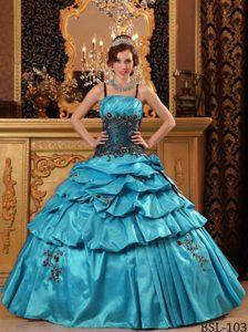 Custom Made Aqua Blue Ball Gown Straps Sweet 16 Dresses in Taffeta