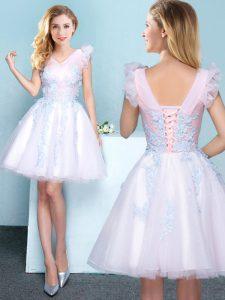 White Sleeveless Appliques Mini Length Wedding Guest Dresses