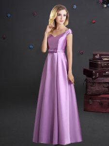 Empire Bridesmaid Dresses Lilac Off The Shoulder Elastic Woven Satin Cap Sleeves Floor Length Zipper