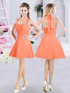 Mini Length Orange Wedding Party Dress Halter Top Sleeveless Zipper