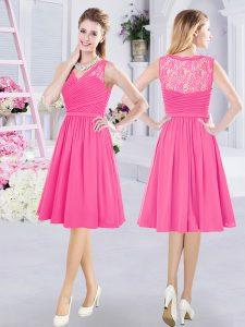Wonderful Hot Pink Wedding Party Dress Prom and Party and Wedding Party and For with Lace and Ruching V-neck Sleeveless