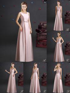 Extravagant Pink Elastic Woven Satin Zipper Square Sleeveless Floor Length Bridesmaid Dress Bowknot