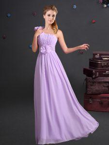 One Shoulder Sleeveless Zipper Bridesmaids Dress Lavender Chiffon