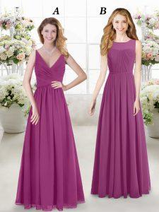 Floor Length Fuchsia Bridesmaid Gown V-neck Sleeveless Zipper