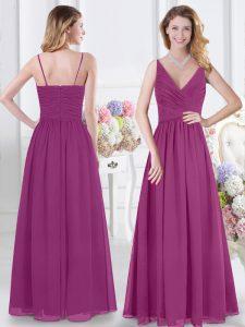 Customized V-neck Sleeveless Chiffon Bridesmaid Gown Ruching Zipper