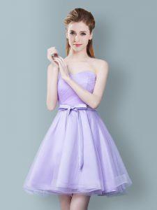 Fantastic Sleeveless Ruching and Bowknot Zipper Wedding Party Dress