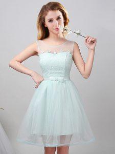 Edgy Mini Length Apple Green Bridesmaid Dress Scoop Sleeveless Lace Up