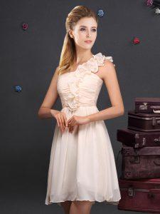 One Shoulder Chiffon Sleeveless Mini Length Bridesmaid Dress and Ruffles and Ruching