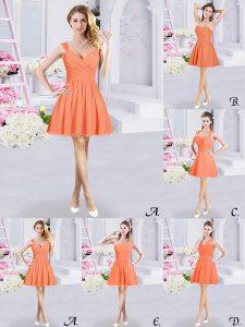 Orange Chiffon Zipper Straps Sleeveless Mini Length Wedding Guest Dresses Lace and Ruching and Belt