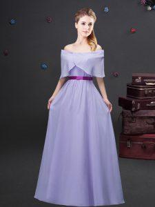 Lavender Empire Off The Shoulder Half Sleeves Chiffon Floor Length Zipper Ruching and Belt Bridesmaid Dress