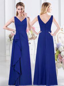 V-neck Sleeveless Chiffon Wedding Party Dress Ruffles and Ruching Zipper