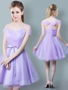 Straps Knee Length Empire Cap Sleeves Lavender Wedding Guest Dresses Zipper