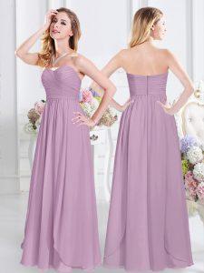 Chiffon Sleeveless Floor Length Bridesmaid Dress and Ruching