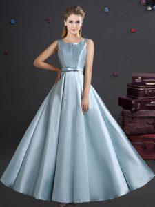High End Straps Sleeveless Zipper Wedding Guest Dresses Light Blue Elastic Woven Satin