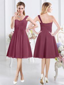 One Shoulder Chiffon Sleeveless Knee Length Wedding Party Dress and Ruching