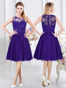 Scoop Purple Empire Lace Wedding Guest Dresses Zipper Chiffon Sleeveless Knee Length