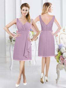 Beautiful Sleeveless Knee Length Ruching Zipper Wedding Guest Dresses with Lavender