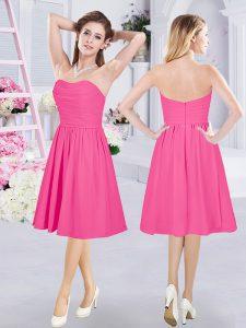Hot Pink Chiffon Zipper Bridesmaid Dress Sleeveless Knee Length Ruching