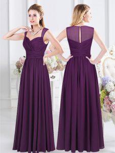 Empire Wedding Party Dress Purple Straps Chiffon Sleeveless Floor Length Zipper
