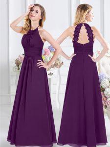 Halter Top Chiffon Sleeveless Floor Length Bridesmaid Dresses and Ruching