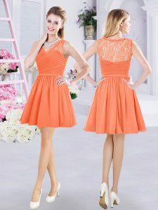 Enchanting Orange A-line Chiffon V-neck Sleeveless Lace and Ruching Mini Length Side Zipper Bridesmaid Dress