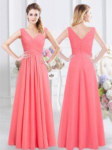 High Quality Chiffon Sleeveless Floor Length Bridesmaid Dress and Ruching