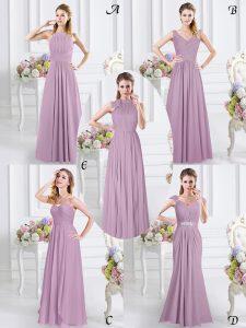 Lavender Chiffon Zipper Wedding Party Dress Cap Sleeves Floor Length Beading and Ruching