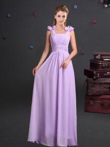 Customized Straps Floor Length Empire Sleeveless Lavender Bridesmaids Dress Zipper