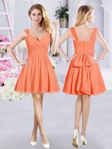Orange Straps Zipper Ruching and Belt Bridesmaid Gown Sleeveless