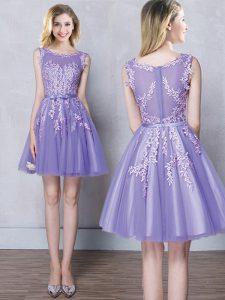 Scoop Appliques and Belt Bridesmaids Dress Lavender Zipper Sleeveless Mini Length