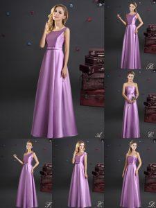 Square Sleeveless Zipper Floor Length Bowknot Bridesmaids Dress