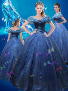 Flirting Cinderella Off The Shoulder Sleeveless Sweet 16 Quinceanera Dress Floor Length Beading and Bowknot Navy Blue Tu