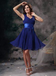 Shimmering Peacock Blue Empire Bridesmaid Dress for Summer Wedding
