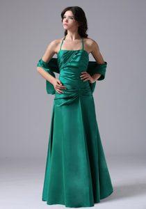 Halter Long Dark Green Ruched Taffeta Maid of Honor Dress with Shawl