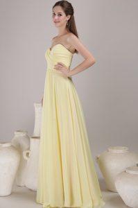 Light Yellow Sweetheart Long Ruched Chiffon Maternity Bridesmaid Dress