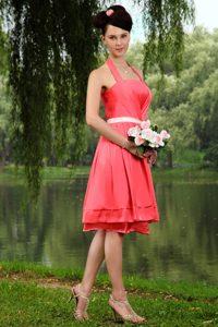 Watermelon Knee-length Halter Taffeta Maid of Honor Dresses with White Sash