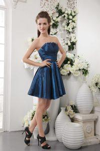 Brand New Strapless Mini-length Navy Blue Ruched Taffeta Bridesmaid Dresses