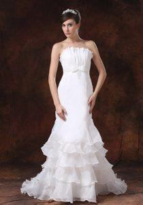 2014 Pretty Mermaid Strapless Garden Wedding Dress with Ruffled Layers on Sale