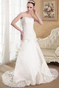 White Strapless Taffeta Appliques Dress for Wedding for Cheap