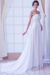 Beautiful Empire Straps Chiffon Beaded Church Wedding Dresses with Court Train