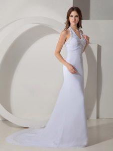 Beautiful Halter Top Court Train Chiffon Beaded Wedding Gowns under 200